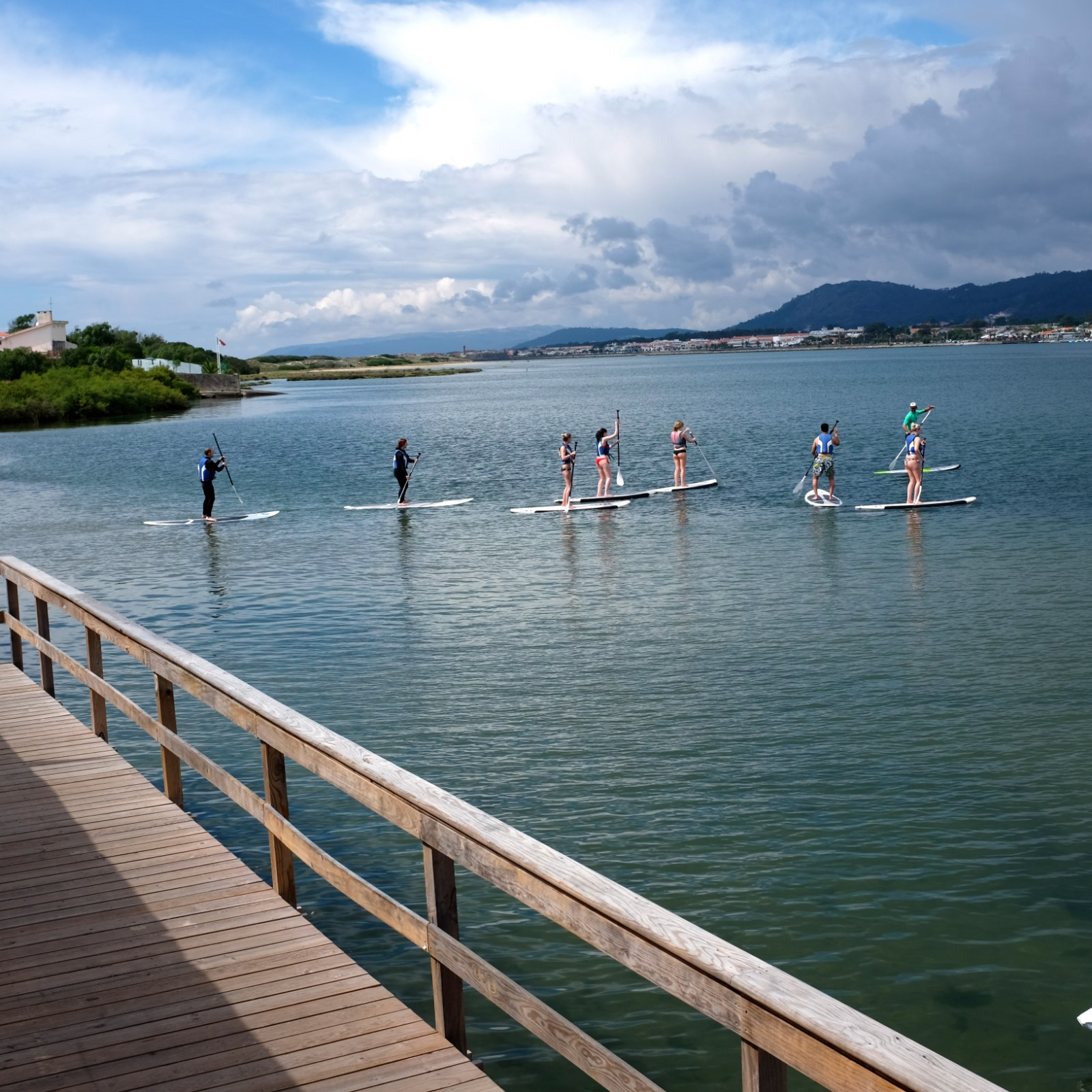 Stand-up paddle surfers at ElementFish surfcamp, Ofir Portugal